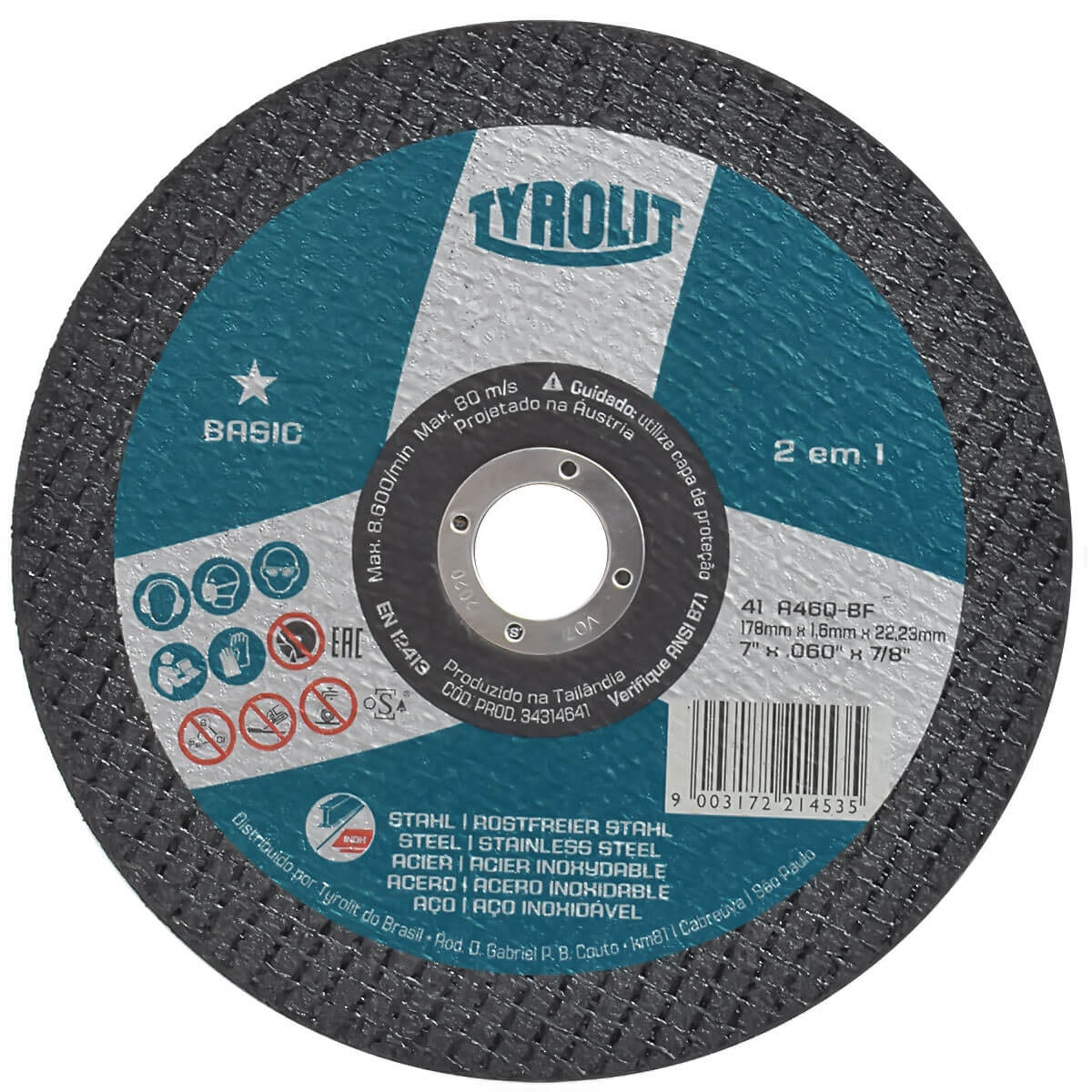 Disco de Corte Basic 178x1,6mm 41 A46Q-BF Tyrolit