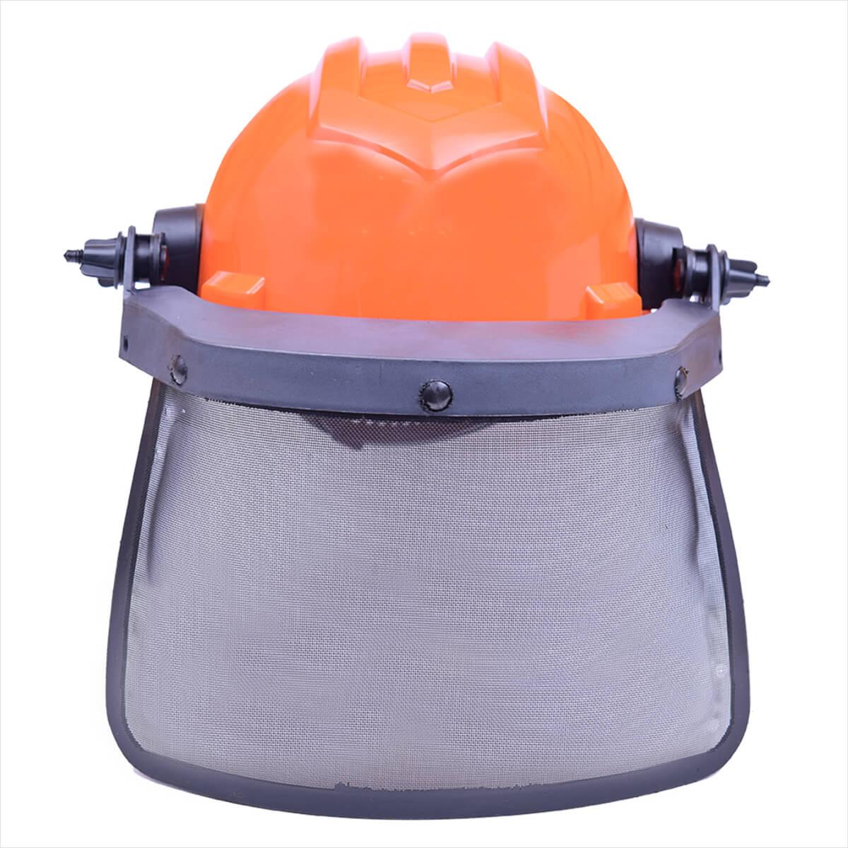 0500ed702a83b Capacete De Segurança Laranja Com Protetor Facial Telado Ledan