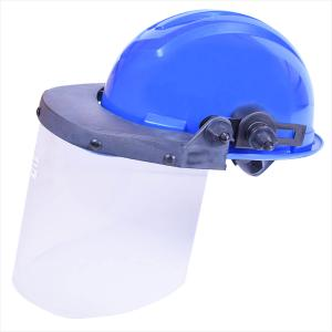 4172a38477703 Capacete de Segurança Azul com Protetor Facial Incolor Ledan