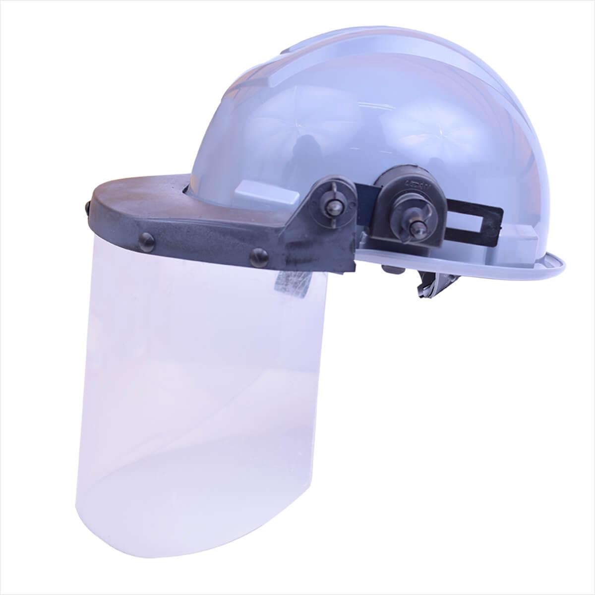 c8e2b574378dd Capacete de Segurança Cinza com Protetor Facial Incolor Ledan