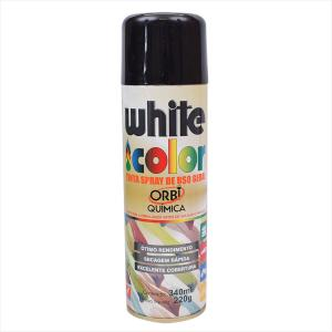 Tinta White Color Spray 340ml Preto brilhante 6692 Orbi Química